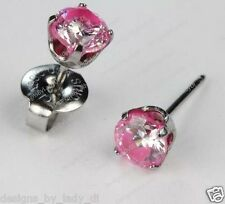 Ear Piercing Earrings Silver 5mm Hot Pink Rimmed CZ Stainless Studex System 75