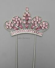 CROWN / TIARA CAKE PICK TOPPER DECORATION PRINCESS DIAMANTE SPARKLY PINK