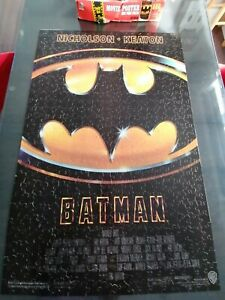 Vintage 1989 Batman Movie Poster Jigsaw Puzzle Complete 2X3 FEET Milton Bradley