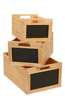 Nesting Natural Wood Chalkboard Crates - Set of 3