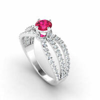 Round Cut 1.20 Ct Natural Diamond Real Ruby Ring 14K White Gold Gemstone Rings
