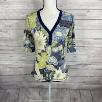 Title Nine Womens Burnout Top Shirt Size Medium Blue Green Floral Elbow Sleeve