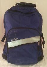 LL BEAN DELUXE ROLLING BACKPACK BOOK BAG BLUE AND BLACK EXTENDABLE HANDLE - GUC
