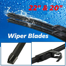 "22""& 20"" Windshield Wiper Blades Premium Hybrid Rubber J-Hook High Quality"
