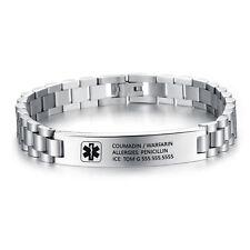 Engraving Emergency Medical ID Bracelet Custom Medical Alert ID Name Bracelets