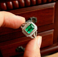 Engagement Vintage Ring 14k White Gold Over Retro 2.86 Ct Green Emerald Diamond