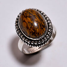 925 Sterling Silver Ring Size UK M, Natural Jasper Handcrafted Jewelry R3989