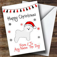 PERSONALISED Christmas Card Any Relation Name to from Bichon Frise dog lover