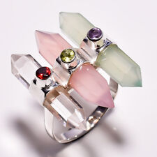 925 Sterling Silver Ring Size US 9, Natural Multi Gemstone Women Jewelry CR4412