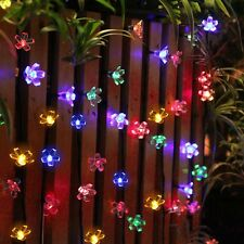 50LED Colorful Flower Solar Fairy String Lights Lamp Outdoor Wedding Party Decor