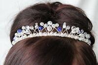 Handmade Bridal Prom - Clear AB & Royal Blue Crystal Tiara headband