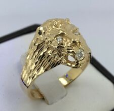 Mens Ring 10K Yellow Gold , Lion Head with Diamond's