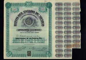 MEXICO / BANK : Banco del Estado de Mexico Toluca  1906  34 unc. div. coupons