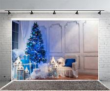 7x5Ft Vinyl Photo Backdrops Blue Christmas Tree Lights Photography Background