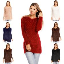Damen Zottelpullover Long Zottel Pullover kuschelig warm Mini Kleid 5113