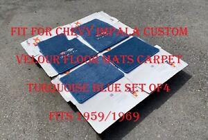For Chevy impala SS Custom Floor Mats Carpet turquoise Blue 4pcs 1959-1969 New❗️
