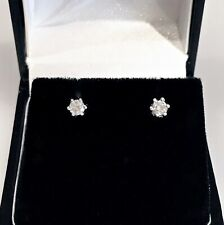 Diamond Stud Earrings 14ct White Gold for Pierced Ears 1.30 grams.