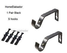 2 Pcs Metal Curtain Pole Holder Brackets S Hooks Silver Brass Black Copper White
