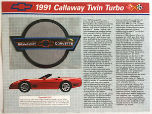 1991 CORVETTE Willabee & Ward OFFICIAL PATCH COLLECTION CARD Callaway Twin Turbo