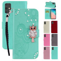 Crystal Owl Glitter Strap Magnetic Flip Wallet Stand Case Cover For Samsung S20