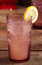 1 - The Pioneer Woman Adeline 16-Ounce Emboss Glass Tumbler, Plum