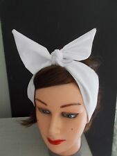 HEAD SCARF HAIR BAND white SELF TIE BOW  NECK ROCKABILLY SWING PIN UP 50s RETRO