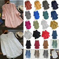 Women Long Sleeve Blouse Tunic Shirt Comfy T-Shirts Basic Casual Tees Plus Size