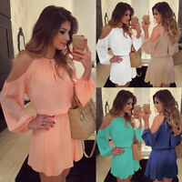 Sexy Women Cold Shoulder Evening Cocktail Chiffon Dress Sundress Candy Color