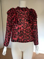 Ladies Missguided Patterned Long Sleeve Top With Ruffle On Shoulder. UK 10