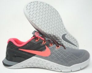 Nike Womens Metcon 3 Training Shoes Grey Solar Red  849807-004 Size 11