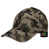 NEW BROWNING STALKER CAMO FLEX FIT HAT FITTED BALL CAP BUCKMARK LOGO L/XL