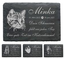 Schiefer Tiergrabstein KATZE Katzen Gedenktafel Grabplatte + Wunschtext 22x16cm