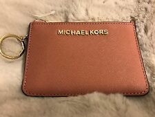NWT MICHAEL KORS LEATHER JET SET SMALL TZ COIN POUCH W/ ID IN ANTIQUE ROSE