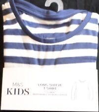 BABY BOYS AGE 12-18 MONTHS LONG SLEEVED T-SHIRT TOP NEW M&S NAVY STRIPY COTTON