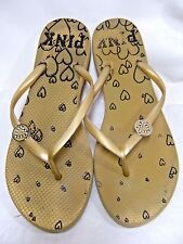 Victoria's Secret Womens Flip Flops Rubber Sandals w/rhinestones Size 10 Gold #B