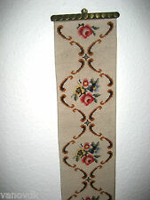Victorian Petite Point Needlepoint Tapestry Bell Pull with Brass Hardware #12