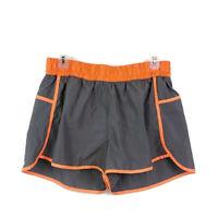 mta Sport Womens sz L Gray Orange Athletic Shorts Elastic Waist Lined
