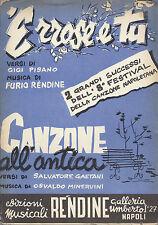 'E RROSE E TU - CANZONE ALL'ANTICA # SPARTITO - Festival Canzone Napoletana 1960
