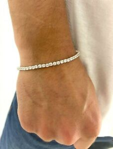 6.00Ct Created Diamond Sterling Silver Round Brilliant Tennis Men's Bracelet