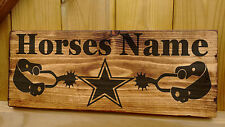 Rustic Personalised Horse / Pony Stable Door Sign Name Plate Plaque Box Star