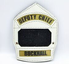 Buckhall Virginia White Deputy Chief Fire Department Leather Helmet Badge