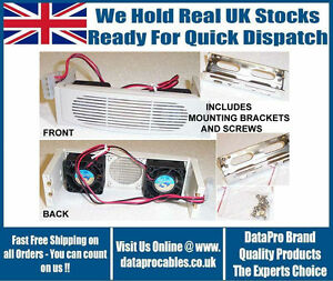 """NEW 5.25"""" FITTING COOLER KIT FOR HARD DRIVES + FACIA WHITE TWIN FAN FREE UK POST"""
