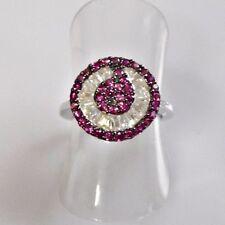 Rubin Baguette Weißtopas Designer Ring 925er Sterlingsilber 52 (16,5 mm Ø)