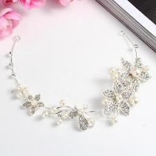 1×Pearl Flower Crystal Rhinestone Wedding Bridal Headband Clip Hair Band Tiara