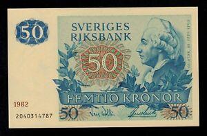 SWEDEN 50 KRONOR 1982 PICK # 53d AU-UNC.