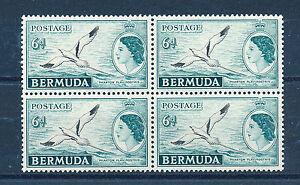 BERMUDA 1953 DEFINITIVES SG143 6d (BIRD) BLOCK OF 4 MNH