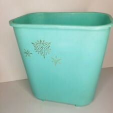 Vintage Rubbermaid Medium Aqua Waste Basket Trash Barrel Starbursts Gold