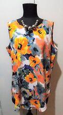 NEW Size 14 Sportscraft Orange, Grey & White Floral Polyester Top- 55cm Bust