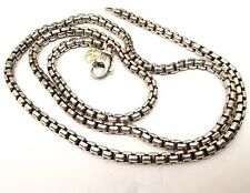 Auth David Yurman Sterling Silver Box Chain Necklace 14K Gold Charm Cable Strand
