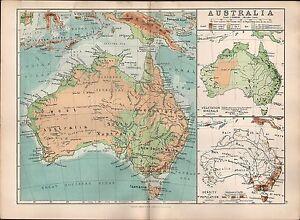 1895 VICTORIAN MAP ~ AUSTRALIA QUEENSLAND VICTORIA POPULATION DENSITY